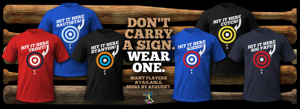 Don't bother carrying a homemade sign to the ballpark. Just wear one! Give your favorite baseball player a target to hit in the stands with a fun shirt from Fantag, the leader in fantasy baseball t-shirts.